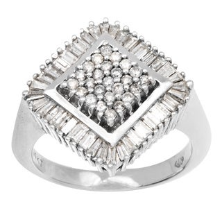 14k White Gold 1.25ct TDW Clustered Diamond Estate Ring (I-J, I1-I2)