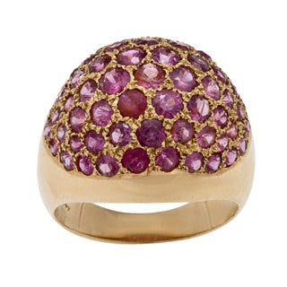 14K Yellow Gold Pave Rubies Estate Dome Ring