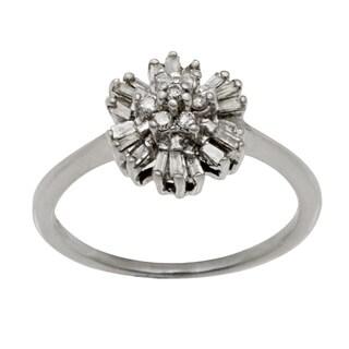14k White Gold .25ct TDW Clustered Diamonds Ballerina Ring (J-K, I1-I2)