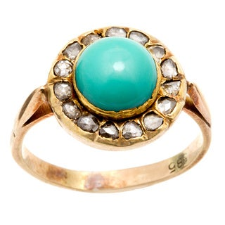 Pre-owned 14k Yellow Gold 1/4ct TDW Turquoise Halo Antique Ring (L-M, I2-I3)