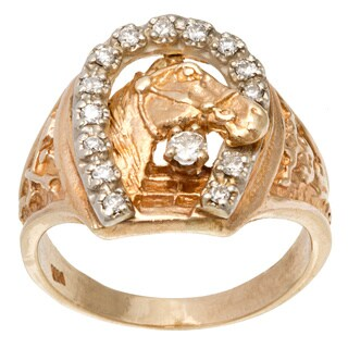 14k Yellow Gold .33ct TDW Horse Shoe with Horse Head Ring (H-I, SI3)