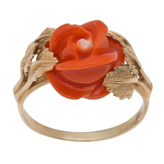 14k Yellow Gold Carved Coral Rose Estate Ring