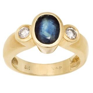 14k Yellow Gold 1/4ct TDW Three-stone Sapphire and Diamond Estate Ring (H-I, VS1-VS2) (Size 5.75)