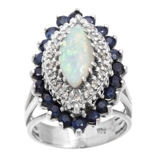 14k White Gold .20ct TDW Opal and Sapphire Ballerina Estate Ring (I-J, SI3)