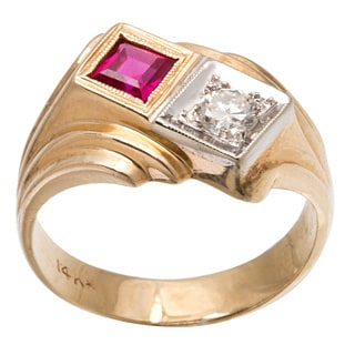 Pre-owned 14K Yellow Gold 1/5ct TDW Ruby and Diamond Estate Ring (G-H, SI3)