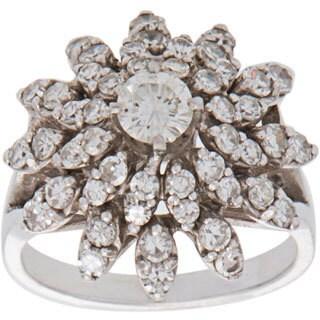 14k White Gold 2ct TDW Starburst Diamond Estate Ring (H-I, SI1-SI2)