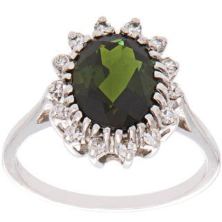 Pre-owned 14k White Gold .33ct TDW Peridot Estate Cocktail Ring (H-I, SI-SI2)