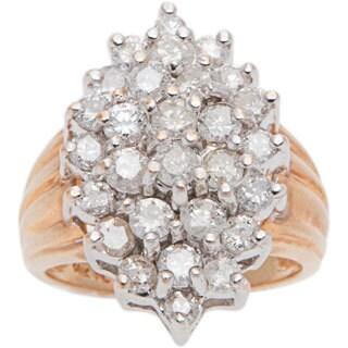 14k Yellow Gold 2.5ct TDW Clustered Diamonds Estate Ring (I-J, I1-I2)