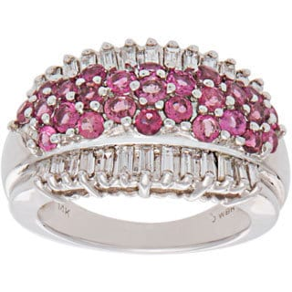 14k White Gold 1ct TDW Pink Sapphires and Diamond Band Ring (H-I, SI1-SI2)
