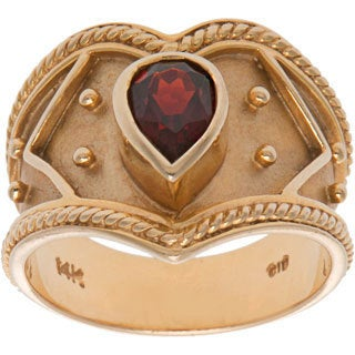 Pre-owned 14K Yellow Gold and Garnet Wide Band Chevron Ring (Size 5.5)