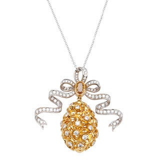 18k Two-tone Gold 2 1/2ct TDW Diamond Pineapple and Ribbon Pendant (G-H, SI1-SI2)