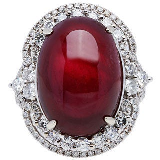 18K White Gold 3ct TDW Giant Ruby Estate Cocktail Ring (G-H, SI1-SI2)