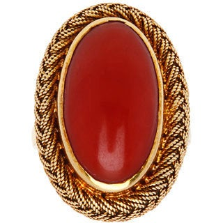 18k Yellow Gold Wired Mesh Antique Coral Cocktail Ring