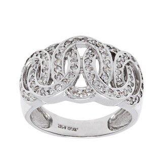14K White Gold 2/5ct TDW Diamond Clustered Interlocking Circles Estate Ring (H-I, I1-I2)