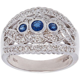 18K White Gold Sapphire and Diamonds Accent Estate Band Ring (H-I, SI1-SI2)