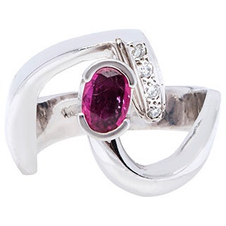 14k White Gold Ruby Diamond Accent Cocktail Freeform Ring (H-I, SI1-Si2)