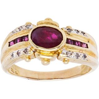 18k Yellow Gold Ruby Estate Ring