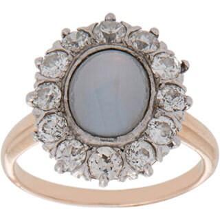 Pre-owned 14K Yellow Gold 3/4ct TDW Diamond Halo Star Sapphire Estate Ring (H-I, VS1-VS2)