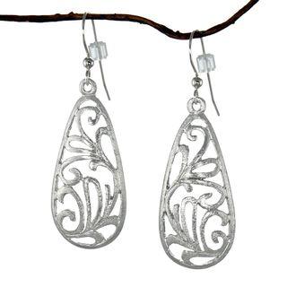 Jewelry by Dawn Brushed Pewter Filigree Teardrop Dangle Earrings