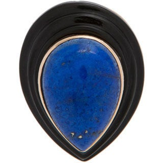 Pre-owned 14K Yellow Gold Layered Onyx and Lapis Cocktail Ring (Size 7.5)