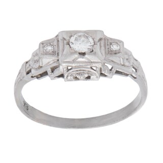 Pre-owned 18K White Gold 1/6ct TDW Antique Diamond Band Ring (I-J, SI1-SI2)