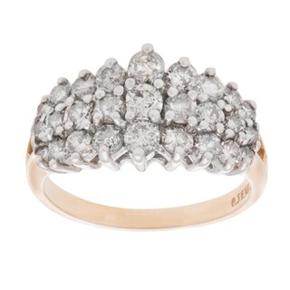 Pre-owned 14K Yellow Gold 1 1/4ct TDW Diamond Cluster Estate Ring (L-M, I1-I2) (Size 8)