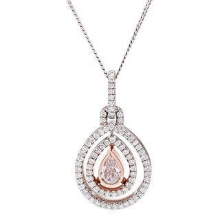 18k White Gold 1 1/4ct TDW Teardrop Pendant Necklace (VS1-VS2)
