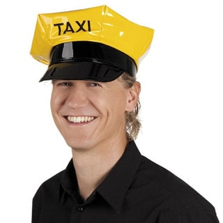Adult Yellow Vinyl Taxi Driver Costume Hat