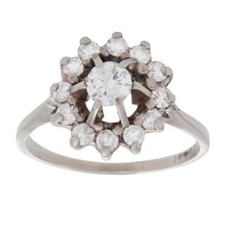 14k White Gold 2/3ct TDW Antique Diamond Estate Ballerina Ring (G-H, SI1-SI2) (Size 8)
