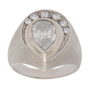 14k White Gold Men's 2 1/2ct TDW Diamond Horseshoe Estate Ring (I-J, I2-I3) (Size 10.25)