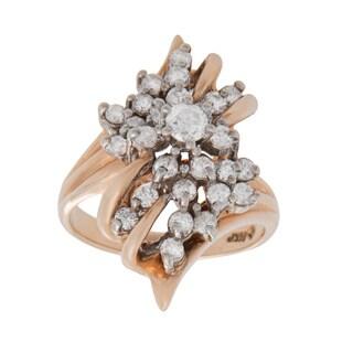14k Yellow Gold 3/4ct TDW Diamond Cluster Estate Ring (H-I, VS1-VS2) (Size 6.5)