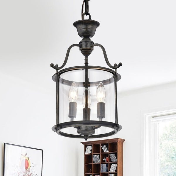 Carlota 3-light Clear Glass Foyer Pendant Chandelier
