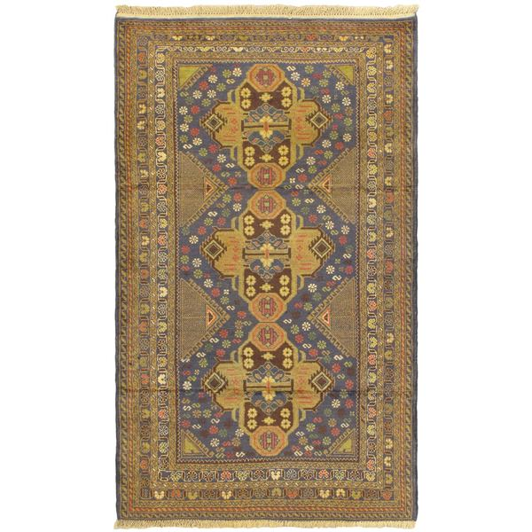 Khandahar Finest Navy Open Field Wool Rug (3'11 x 6'6)