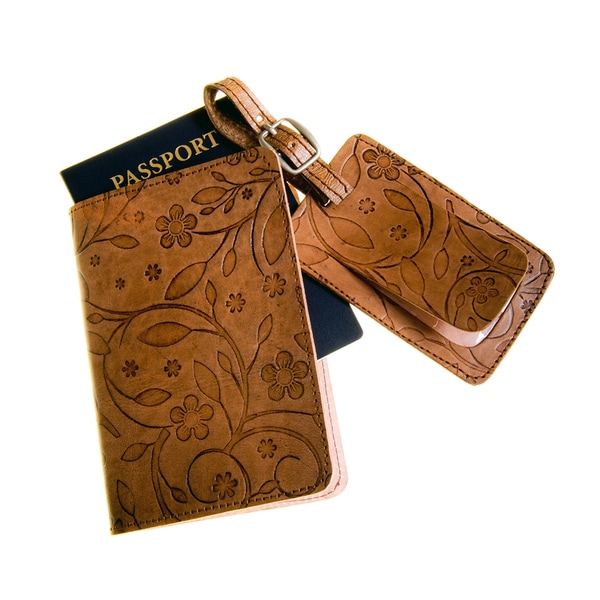 Brown Embossed Leather Luggage Tag Passport Travel Set (India)