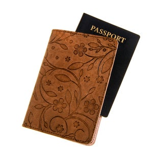 Brown Embossed Leather Passport Cover (India)
