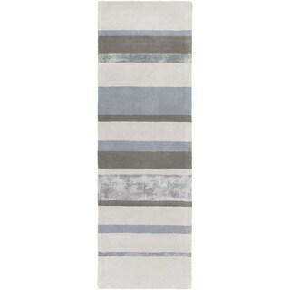 GlucksteinHome :Hand-tufted Felipe Stripe Wool Rug (2'6 x 8')