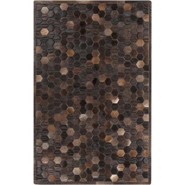 Handmade Cesar Geometric Pattern Leather Rug (8' x 10')