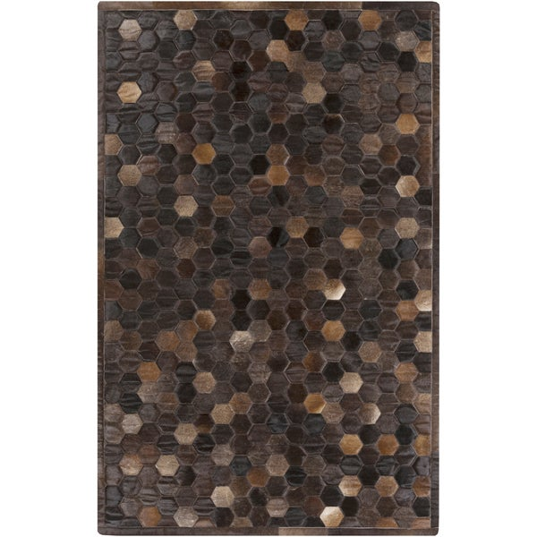 Handmade Cesar Geometric Pattern Leather Rug (5' x 8')
