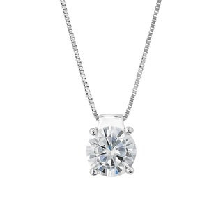 Charles & Colvard Sterling Silver 1.00 TGW Round Classic Moissanite Solitaire Pendant