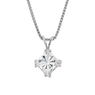 Charles and Colvard Sterling Silver Classic Moissanite Square Brilliant 1.3TGW Soliatire Pendant