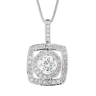 Charles and Colvard Sterling Silver Classic Moissanite Round 1.31ct TGW Halo Pendant Necklace