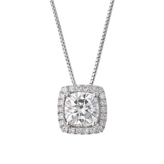 Charles and Colvard Sterling Silver Classic Moissanite Cushion 2.22ct TGW Halo Pendant Necklace