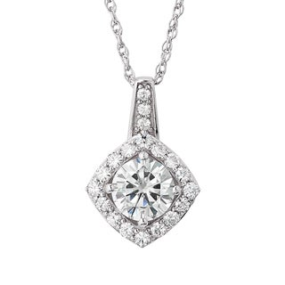 Charles and Colvard Sterling Silver Moissanite Round 2.455 TGW Halo Pendant