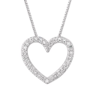 Charles and Colvard Sterling Silver Classic Moissanite Melee 0.45 TGW Heart Pendant