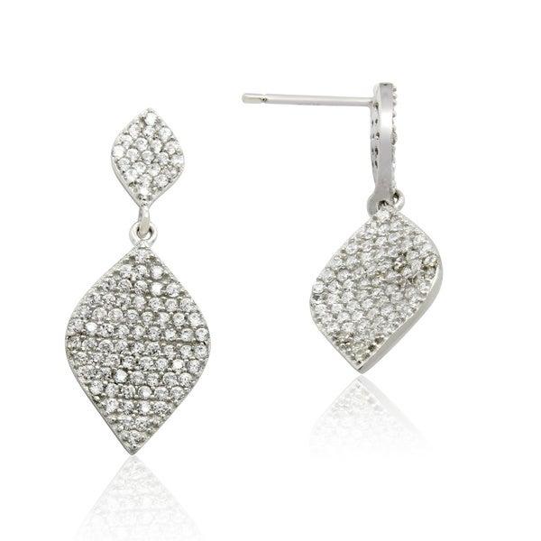 Gioelli Designs Sterling Silver Cubic Zirconia Dangling Leaf Earring