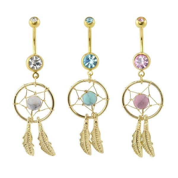Supreme Jewelry Three Anodized Gold Dream Catcher Belly Rings