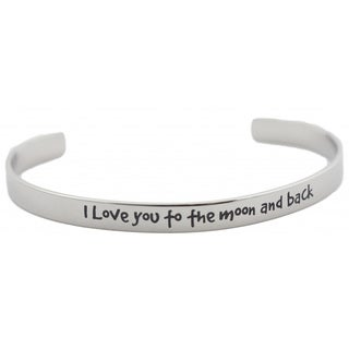 Stainless Steel 'I Love You To The Moon and Back' Cuff Bracelet