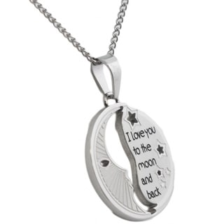 Stainless Steel 'I Love You To The Moon and Back' Cut-out Round Pendant