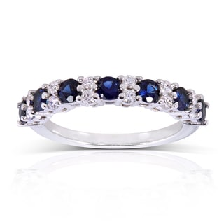 Annello 14k White Gold Blue Sapphire 1/4ct TDW Diamond Band (G-H, I1-I2)