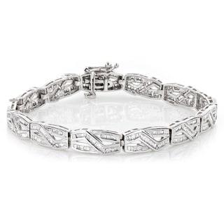 Luxurman Women's 10k White Gold Infinity Baguette Diamond 2 4/5ct TDW Bracelet (H-I, SI1-SI2)